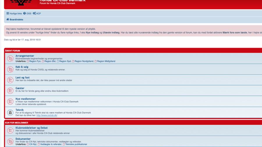 Honda CX Club's forum er nu opdateret